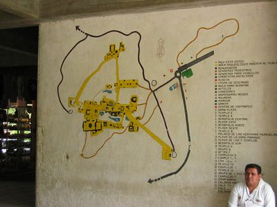 Map of the ancient ruins of Tikal in eastern Guatemala along the Belize border.