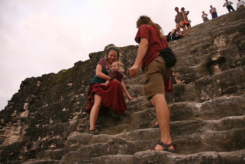 Belize 2007: Tikal at sunset; a tricky descent