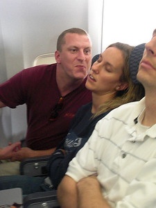 Goofing off on the flight to Belize.