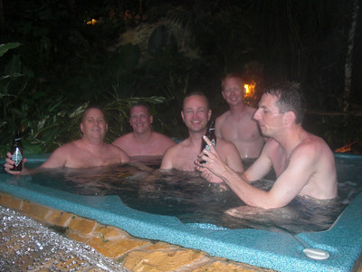The boys in the hot tub at Jaguar Paw, a resort in the middle of the jungle.