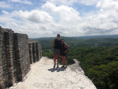 Sherri and Jackie on top of one of the Mayan ruins at Xunantunich