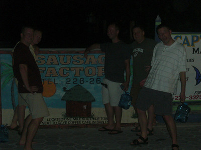 The guys and the Sausage Factory sign in San Pedro.