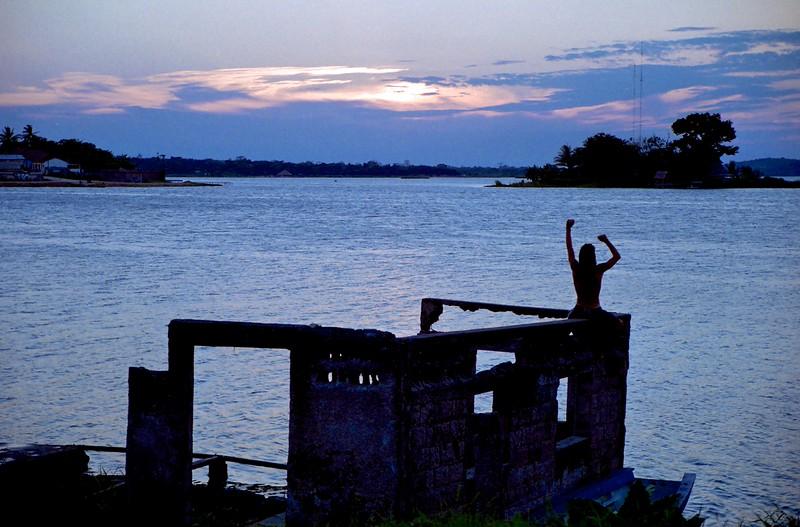 Man watching sunset - Flores, Guatemala, 2004