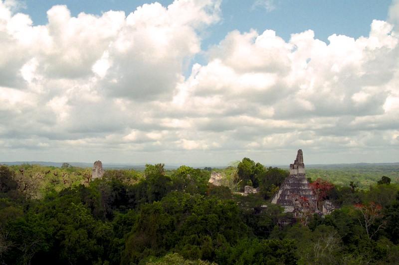 Treetop view of the Mayan ruins of Tikal, Guatemala - April 2004