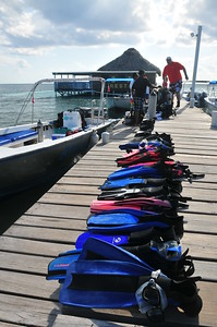© Joseph Dougherty.  All rights reserved.   Fins and other scuba equipment lined up on the dock.