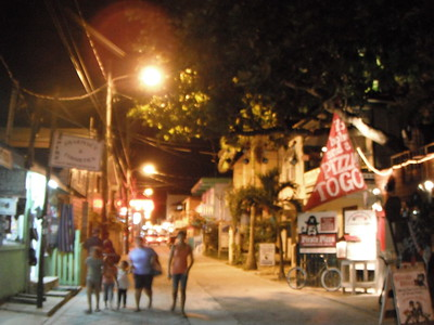 © Joseph Dougherty.  All rights reserved.  Streets of San Pedro at night, Ambergris Caye, Belize.