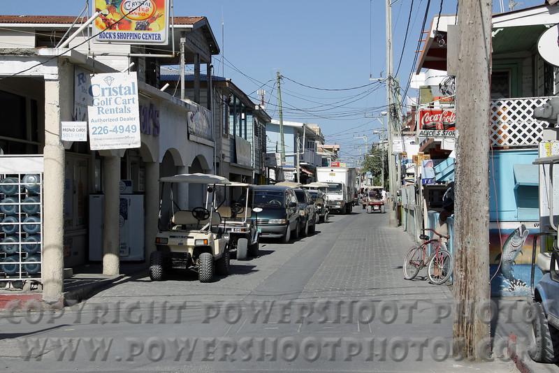 A down town street in San Pedro, Belize