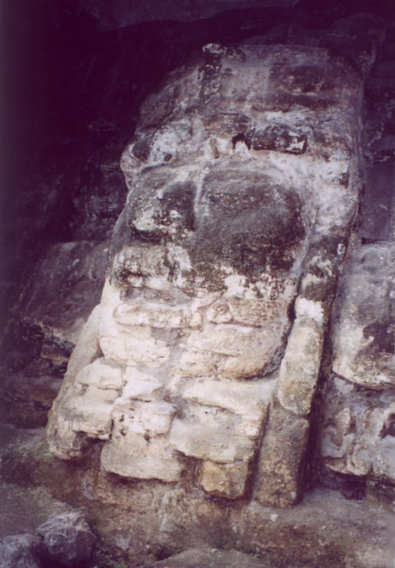 Lamanai mask in Belize (Mayan)