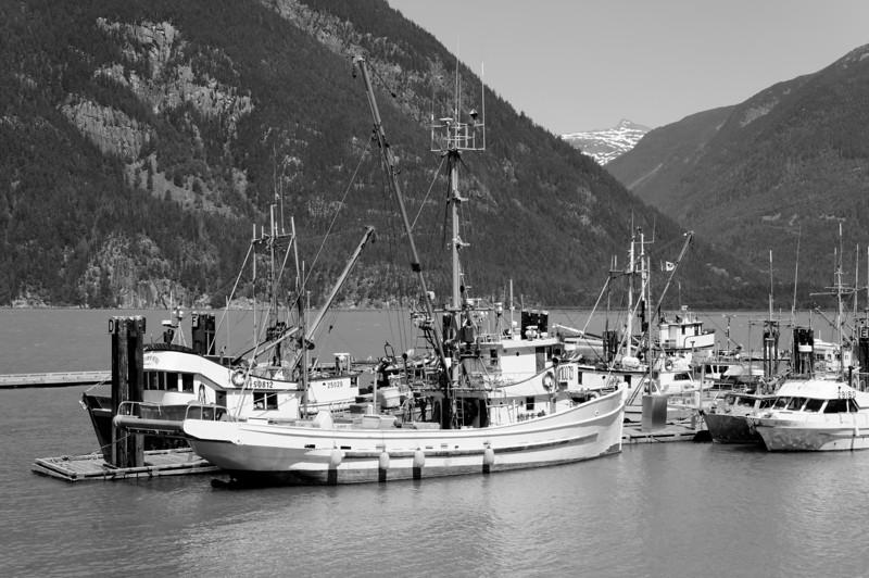 Fishing vessels in Bella Coola harbor.