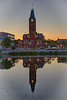 Beilleville City Hall from across the Moira River. HDR efx balanced. Reflection in the river before sunrise.