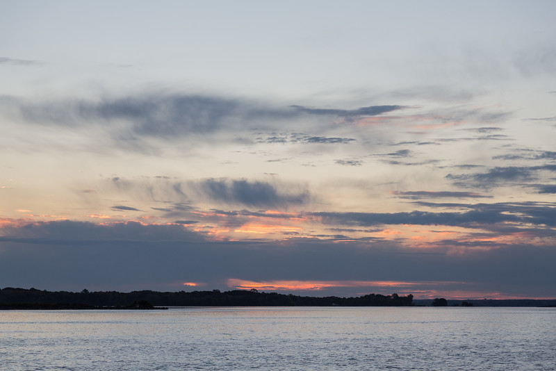 Low clouds over the Bay of Quinte a few minutes before sunrise.