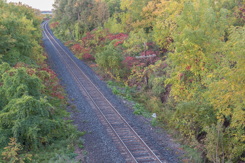 Canadian Pacific Railway tracks head west from crossing by Bay Bridge Road in Belleville Ontario.