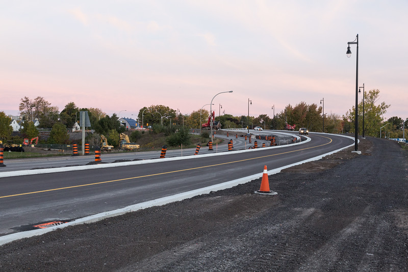 New bridge over Canadian Pacific tracks on Bay Bridge Road opened 2016 October 14th. Not quite complete, final work includes demolition of old bridge which will allow for all lanes to be used.