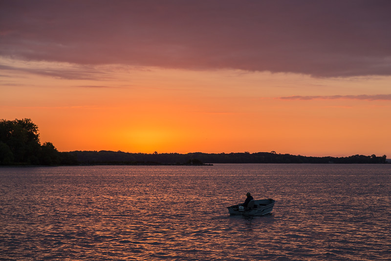 Heading out fishing at sunrise on the Bay of Quinte.