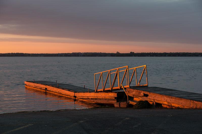 Dock at Herchimer Avenue boat launch at sunrise.