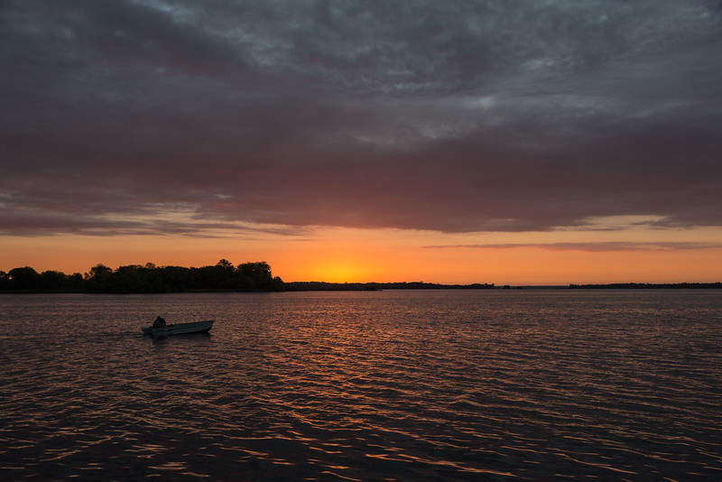 Fishing boat at sunrise on the Bay of Quinte.