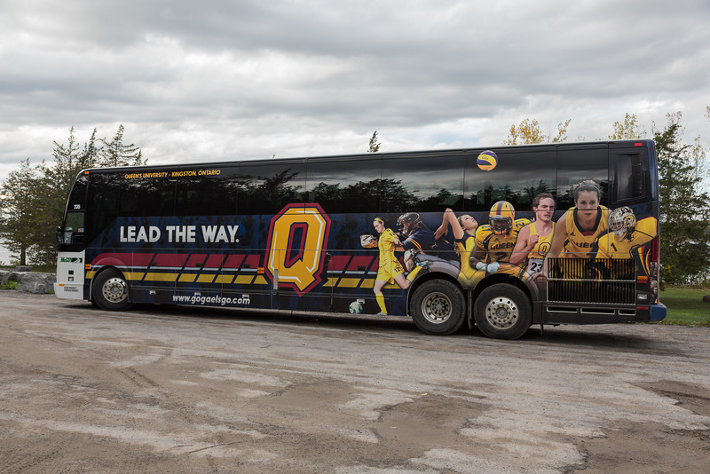 Queens University Gaels bus parked at Massassauga Point Conservation Area.