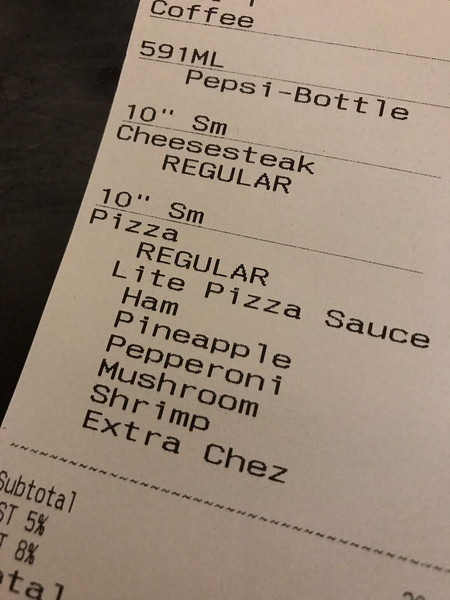 Bourbon Street Pizza bill showing customized pizza
