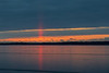 Sun pillar looking across the Bay of Quinte just before sunrise from Belleville Ontario. 2018 December 10.