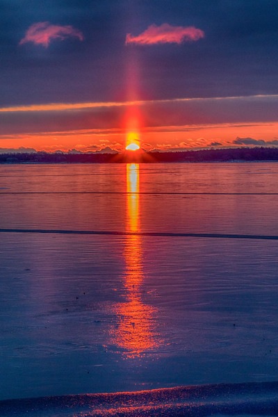Sunrise 2018 December 10 across the Bay of Quinte from Belleville Ontario. HDR efx dark.