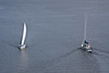 Boat viewed from Bay Bridge (Norris Whitney Bridge) on the Bay of Quinte at Belleville, Ontario