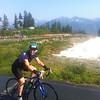 Joan crossing the finish