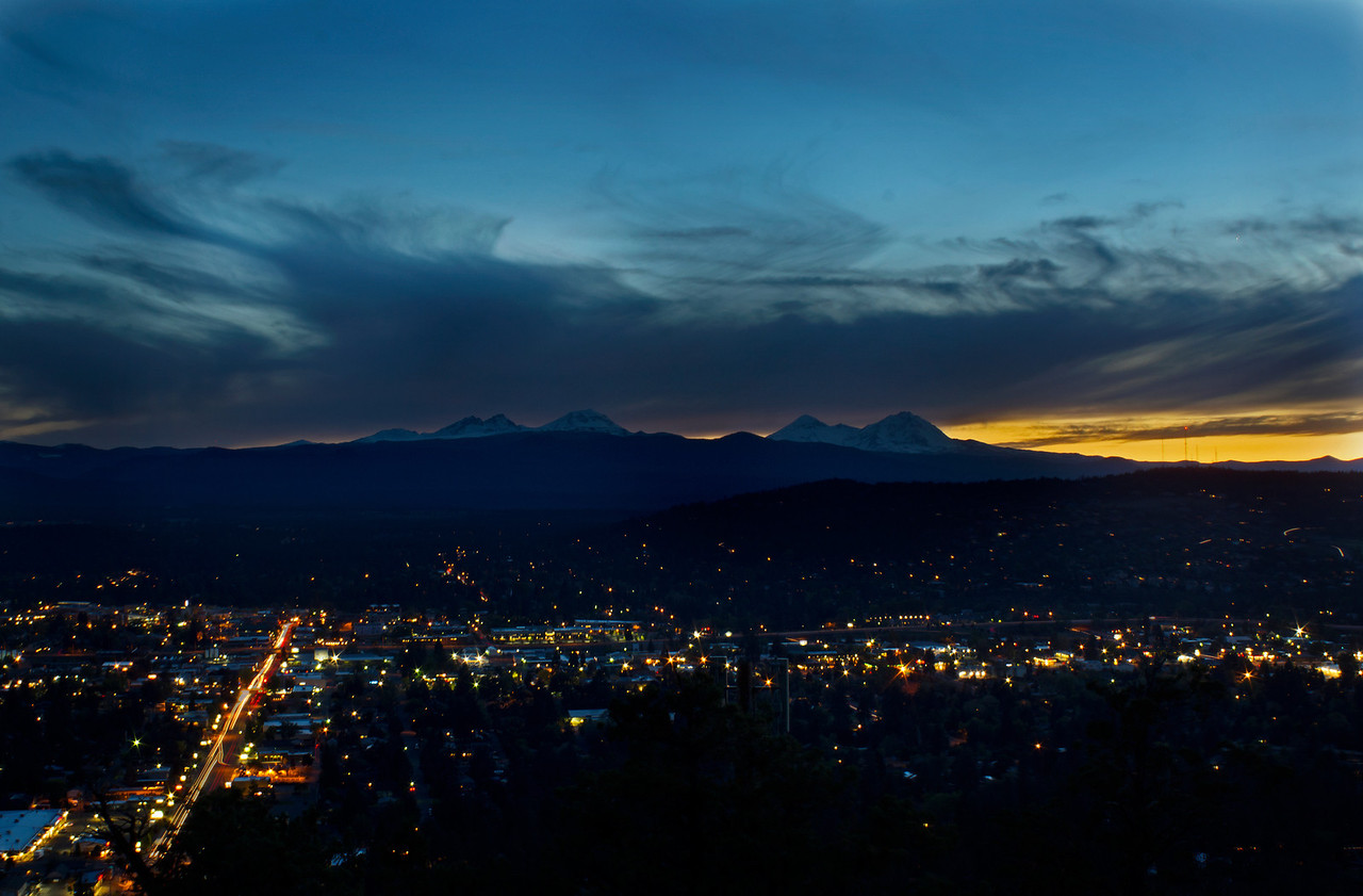 City of Bend, OR looking down from the top of Pilot Butte.