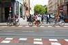 Nearly everyone in Amsterdam has a bike. There are bike lanes on all roads or sidewalks. It is very important to look both ways when crossing sidewalks or exiting a building. The bike lanes on the sidewalks are indicated with lines.<br /> _MG_7423