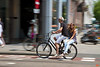 Nearly everyone in Amsterdam has a bike. There are bike lanes on all roads or sidewalks. It is very important to look both ways when crossing sidewalks or exiting a building. The bike lanes on the sidewalks are indicated with lines.<br /> _MG_7425