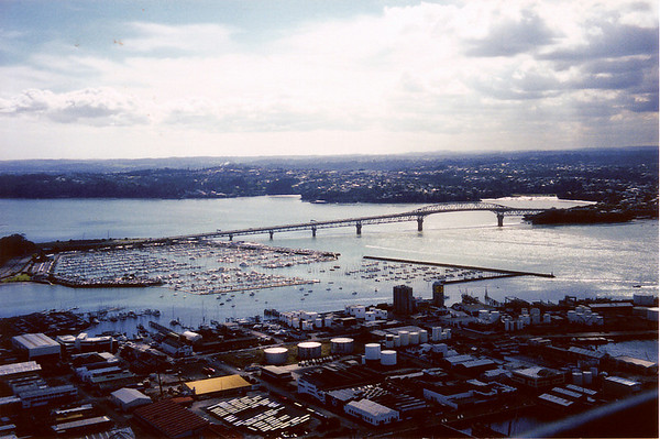 Auckland Habour Bridge and Westhaven Marina Auckland New Zealand