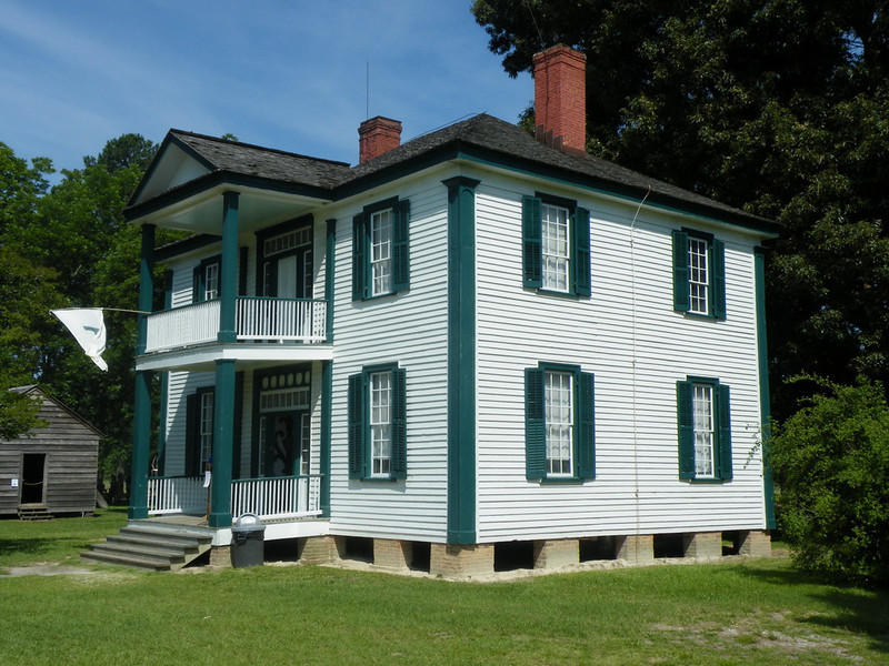The Harper House. Built around 1855 for the Harper family. The house served as the 14th Army Corps field hospital during the Battle of Bentonville, March 19-21, 1865. The front yard and surrounding grounds served as a recieving/triage area for the incoming wounded.
