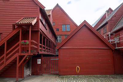 Rear areas of old wharf buildings in Bergen