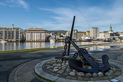 Street in harbour in Bergen