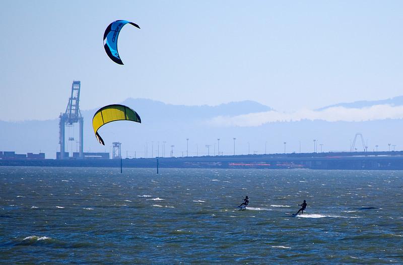 Kite boarders, San Francisco Bay