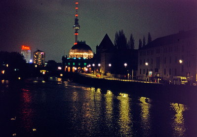 View towards Alexanderplatz from Friedrichstraße Bridge.