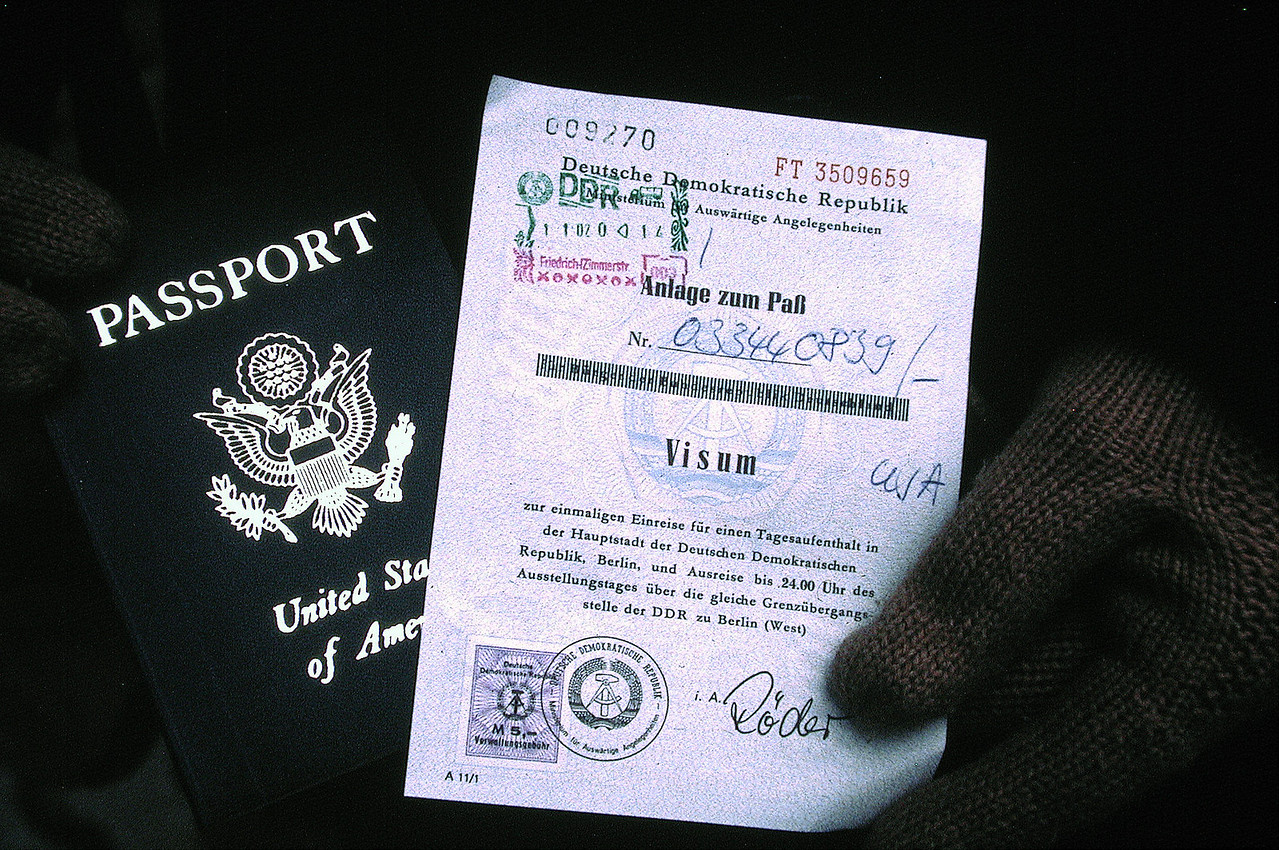US Passport with a stamp to allow entry into East Germany.