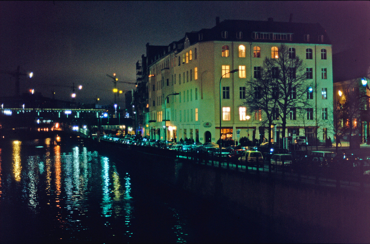 Taken on Friedrichstraße - bridge over the Spree, looking towards the railway and the back of the Reichstag. Ganymed restaurant on the right and Berthold Brecht Threatre (out of picture).