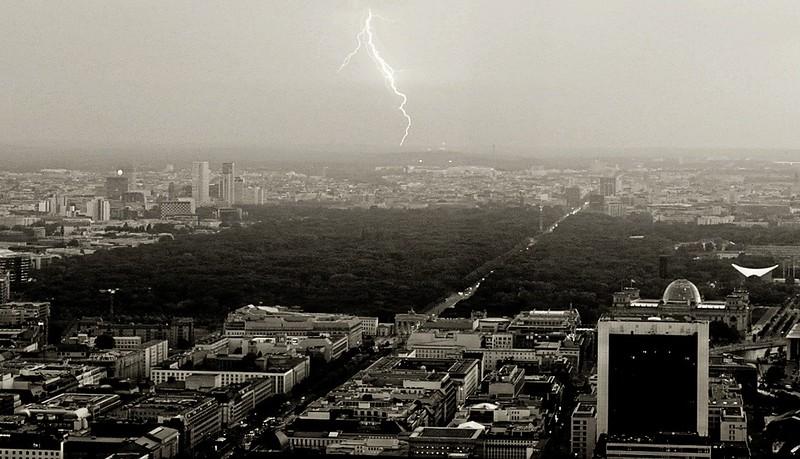 Lightning strike over Berlin.