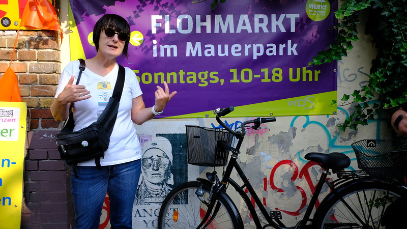"Valerie explains what we should be thinking about as we enter the huge Sunday flea market at Mauerpark (Mauer means ""wall"")."