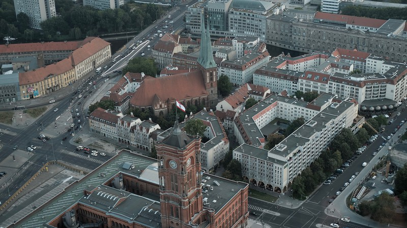 The views from the TV tower in Berlin.  Built during the communist era in 1969, it is as tall as three Seattle Space Needles!