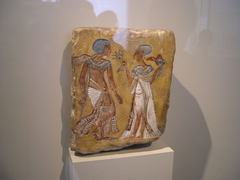Relief of Tutankamen and his wife, Egyptian collection, Altes Museum