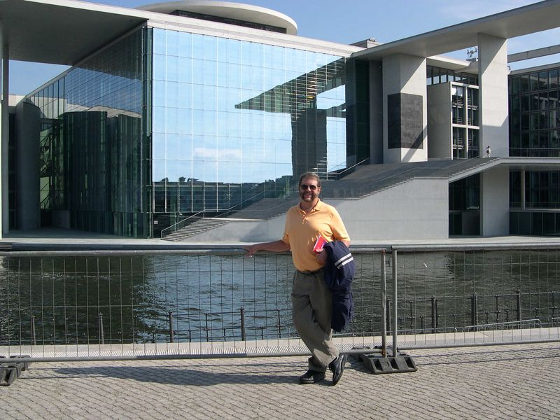 Dick near Reichstag office buildings by River Spree