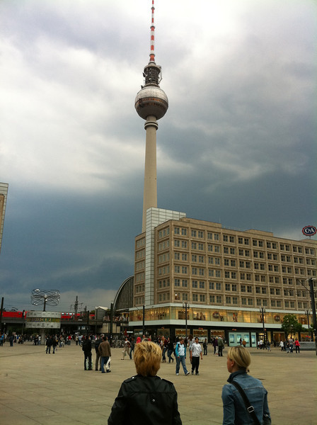 Icon of East Berlin, the Fernsehturm (television tower), in Alexanderplatz