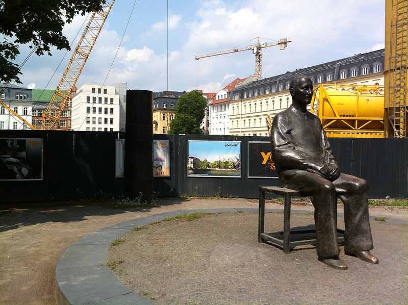 Statue of Bertolt Brecht, across from the Berliner Ensemble theater building (with typical Berlin construction happening all around)