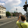 Ann, standing in front of Humboldt University, snapping a shot of the Berliner Dom and Fernsehturm