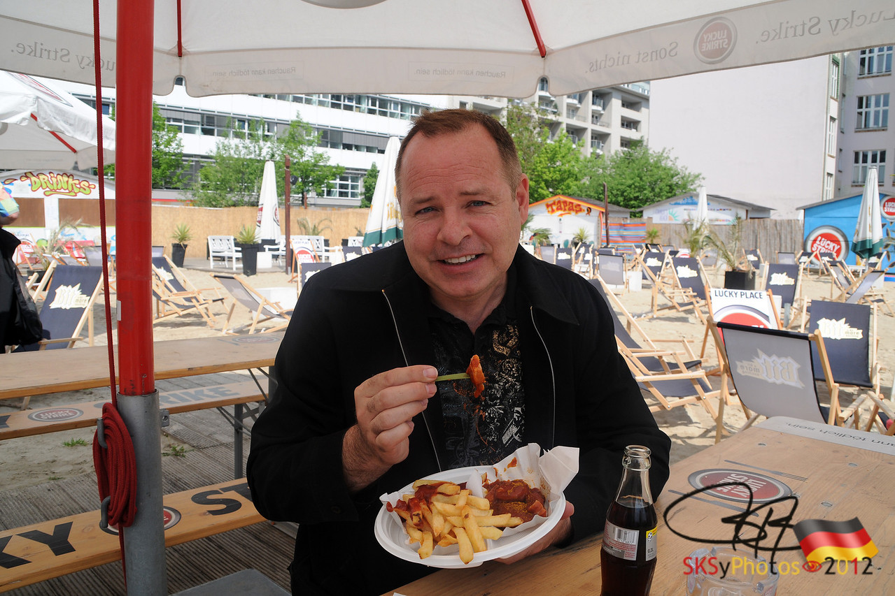 Typical german street food:  currywurst with pommes.  Near Checkpoint Charlie. 5/3/12
