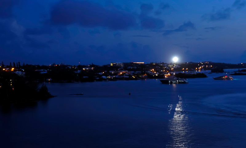 Not the moon.  This is the light from the Gibbs Hill Lighthouse on Bermuda's South Shore.