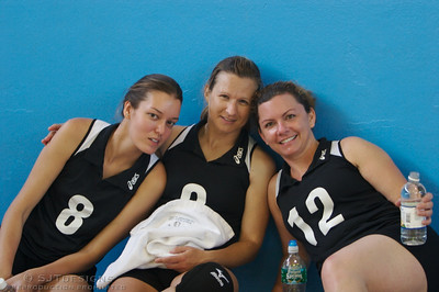 Amanda Kamm, Vikki Zorrila, and Jen Roth in between matches