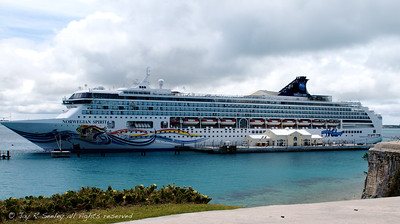 Cruise ship docked at Heritage wharf, Bermuda.  The larger cruise ships dock here at the Royal Navy Dockyard.