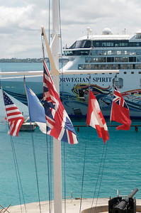 colorful display of flags at Heritage Wharf, Bermuda